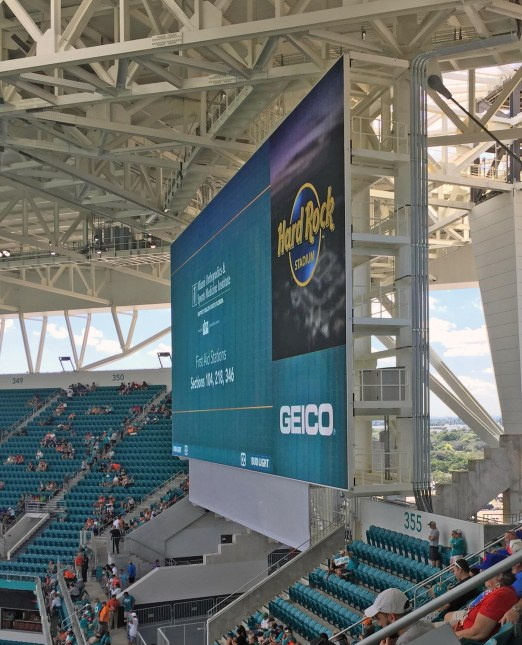 The renovations at the home of the Miami Dolphins is impressive, such as the four huge-screen monitors in each corner of the endzone seating. Here is the one near us (in our nose-bleed seats). The owners put $415 million into renovations and it's easy to see every penny in what is now the Hard Rock Stadium. I got the shot on Oct. 23, 2016, before the contest between our Dolphins and the Buffalo Bills. It was a good game, with a 28-25 win by the 'Phins.
