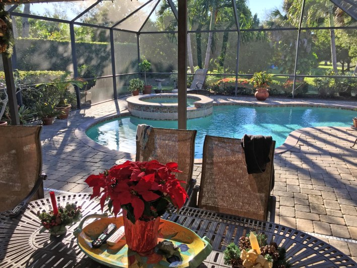 You know it's late November in Southwest Florida when you have a balmy afternoon that looks later than it is because of standard time and decorations for the upcoming Thanksgiving and Christmas holidays. Here's a shot of our patio area on Nov. 20, 2016, in Naples, Fla.