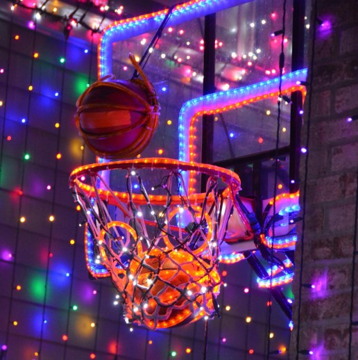 "You won't find this ""Hidden Mickey"" any longer at Walt Disney World. Look close, it's a Mickey Mouse basketball going through a hoop – lighted wonderfully in the now-closed Osborne Family Spectacle of Dancing Lights at Disney's Hollywood Studios. Last holiday season saw the end of the light spectacular at the park and Allison got this shot on Dec. 15, 2015."