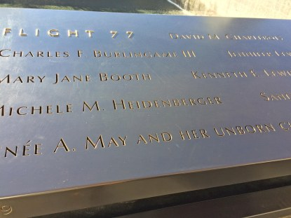 Debbie got this photo at the 9/11 Memorial and Museum on Dec. 9, 2016, while she and Allison visited New York City on a four-day trip. It is a close-up of a list of the terror victims at the memorial.