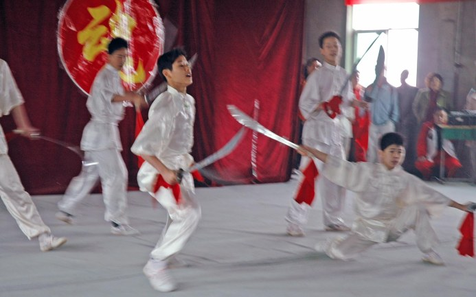 It was a wonderful performance during our trip to China in 2007 when we visited a martial arts academy in Xi'an. We were on a trip to China with the Barron Collier High School marching band when I got this and many other photos.