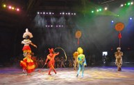 Even when the performers are faced away from you during the Festival of the Lion King at the Animal Kingdom park, you're not visually out of action. Here's a nice view as the performers move away from our seats (also note the hat on the gentleman walking in the door in the far background). We were there on Feb. 8, 2015, during the performance while during a weekend trip at Walt Disney World.