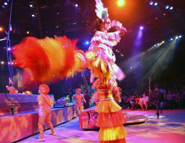 A performer kicks up his heels during the Festival of the Lion King show at the Animal Kingdom park. I got this shot on Feb. 8, 2015, during the performance. It's definitely impossible to get a bad photo at this show at Walt Disney World.