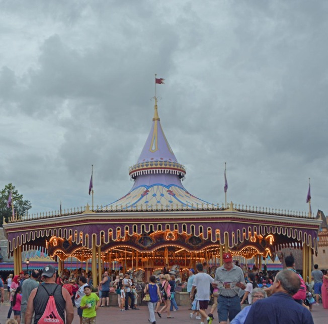 The lights inside the iconic Prince Charming Regal Carousel make a nice contrast to a cloudy sky! Allison got this shot on Aug. 16, 2015, at the Magic Kingdom. Allison and Debbie were at Walt Disney World on a long weekend when she took the photo.