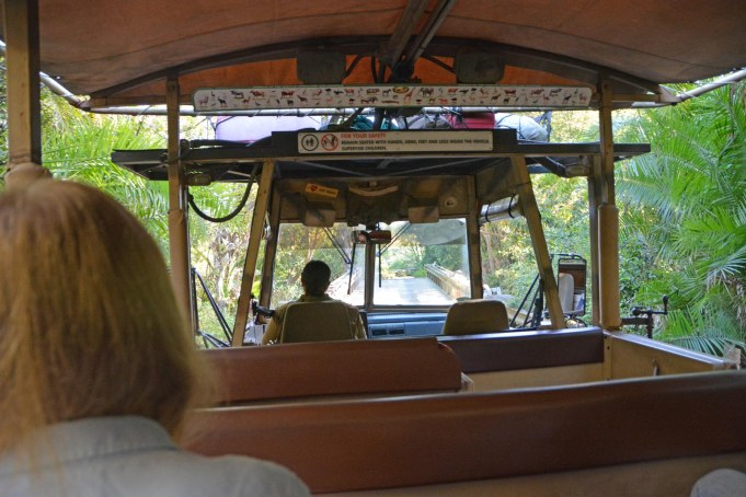 It was a light morning on the Kilimanjaro Safaris ride at the Animal Kingdom park when I took this photo. It shows looking ahead over the shoulder of a guest to the driver in the front. We were at Walt Disney World on Feb. 8, 2015, when I got this shot.