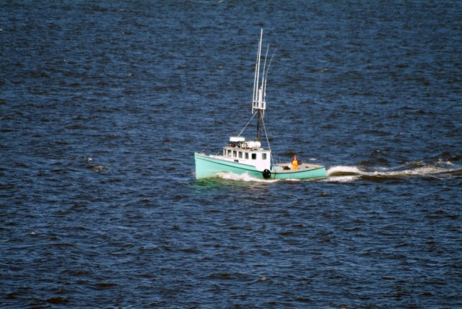 I got this shot of a fishing boat from our Carnival cruise ship in June of 2007 at the Saint John (New Brunswick) stop on our cruise to Canada. Frankly, I don't remember if we coming into or going out of port. We also stopped at Halifax in Nova Scotia.