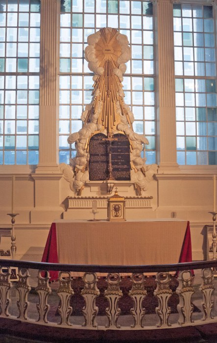 Here's a view of the altar at St. Paul's Chapel in New York City. I got the shots during our visit in June of 2007. In the wake of the 9-11 terrorist attack on New York's Twin Towers in 2001, the chapel was used by rescuers and emergency workers and its wrought iron fence became a place to hang memorials and mementos.