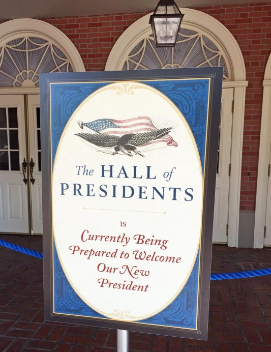 The iconic Hall of Presidents attraction is closed at Magic Kingdom until June 29 for refurbishment – including the addition of our latest: President Donald Trump. Allison got this shot at Walt Disney World on Jan. 21, 2017, during a day trip to the park. The attraction closed Jan. 17.