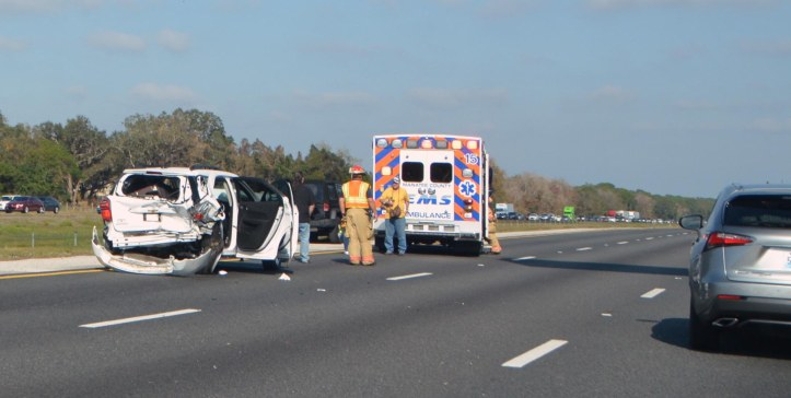 Here is a photo from a serious crash on Interstate 75 on the morning of Feb. 4, 2017. We were driving to Walt Disney World when traffic became backed up at the 210 mile marker. After a few miles it thinned out and then backed up again and we saw this Manatee County ambulance go past. Soon we saw this crash scene blocking two of the three lanes on I-75. I don't know what happened or the status of those who were in the vehicle, but it was obviously a bad crash as you can see.