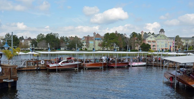 Here's a shot showing some of the old-style mahogony Chris Craft boats at our new-favorite restaurant The Boathouse at Disney Springs at Walt Disney World! We really enjoy The Boathouse. In another nautical theme, Amphicars launch from right next to the restaurant.