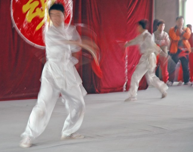 In yet another look back at our visit to China in 2007, here's yet one more shot from the performance we viewed during a visit to a martial arts academy in Xi'an. We were on the trip with the Barron Collier High School marching band.