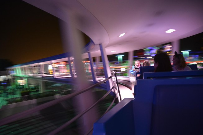 Although not an iconic image such as Cinderella Castle, the Tomorrowland Transit Authority PeopleMover is one of my favorite places to take photographs. Here's one I got the evening of Feb. 4, 2017, as we were at Tomorrowland at the Magic Kingdom. We were on a weekend visit to Walt Disney World.