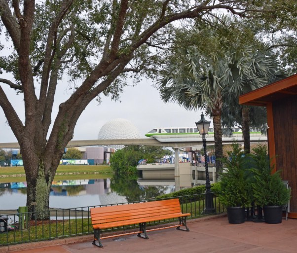 Here's a quiet spot near the France Pavilion at EPCOT. It isn't always so quiet and you can always get a glimpse of the monorail. I got this shot Feb. 5, 2017, during a weekend visit. We'll be back this weekend for the EPCOT International Flower & Garden Festival.