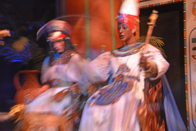 Not only can you get great light-dark contrast photos at Walt Disney World, but rides offer you the chance to experiment with blurring your photos. Here's a shot of a couple of animatronics on the Spaceship Earth ride at EPCOT. The overall darkness and spotlight on the animatronics slowed down the shutter speed on my Nikon and caused the blur. I got the shot on Feb. 5, 2017.
