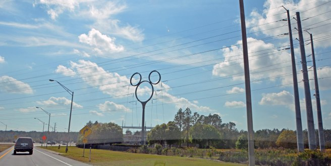 Here's the sight we most hate to see: the Mickey Mouse-shaped power line guide as we leave Walt Disney World. Oh, boo! Seeing the electrical Mickey means another trip has come to an end – even just a day trip. Still, we also like to SEE it as we arrive!