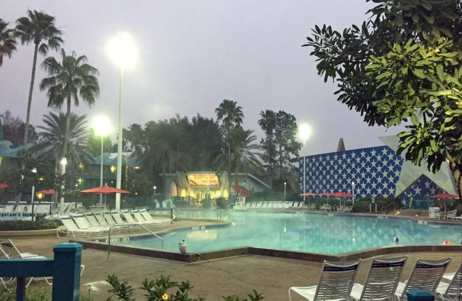 You'll have to look closely, but there's steam rising off the main pool at Disney's All-Star Sports Resort in this photo. We on a weekend visit to Walt Disney World when I got this shot just after dawn on Feb. 5, 2017. We'll be back this coming weekend for a multi-day stay at Disney's Port Orleans Resort – Riverside.
