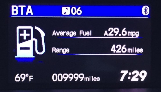 When's a new car not a new car? My 2015 Honda Civic, which we bought in October 2015, just turned over its 10,000th mile on Feb. 7, 2017. I took this shot of the odometer (is that what you still call a digital display?) as it had reached 9,999 when I got to work that morning here in Naples, Fla.