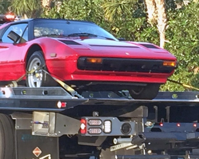 Even a Ferrari needs a tow now and then. I got this shot of a Ferrari 308 GTB quattrovalvole on the bed of a tow truck in Naples, Fla., on Feb. 9, 2017. I realize the vehicle went out of production 32 years ago, but it's still different to see a Ferrari being towed and not transported or, more perfectly, driven.