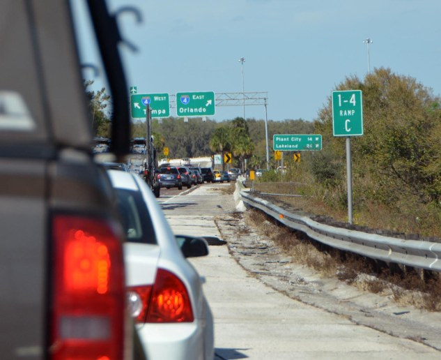 Wow. I sympathize with anyone who has to drive on Interstate 4 or Interstate 75 on a weekday afternoon. For our trip to Walt Disney World on March 3, 2017, it took us more than an hour longer to get to our resort than when we drive up from our home in Naples, Fla., on any early Saturday morning. Our usual time is about 2 hours and 40 minutes. Yesterday (March 3), it was 3 hours and 42 minutes. Here's the view of the backed-up traffic turning from I-75 onto I-4.